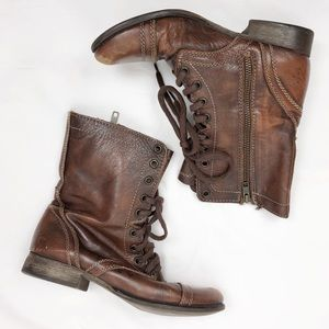 Steve Madden Troopa Brown Leather Boots Size 7